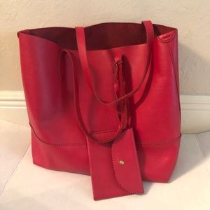 J Crew Red Downing Leather Tote Bag